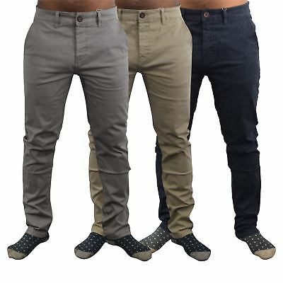 Mens Chinos Trousers Crosshatch Slim Fit Tampered Casual Bottom • 19.99£