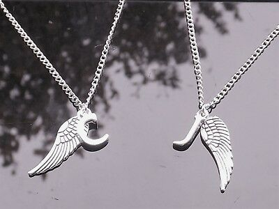 £2.75 • Buy Personalised Initial Necklace With Silver Plated Letter & Guardian Angel Wing
