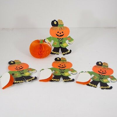 $ CDN25.09 • Buy Lot 4 Vintage Hallmark Halloween Scarecrow Pumpkin Honeycomb Table Decoration 5