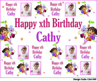 24hrs Delivery Dora Birthday Backdrop Banners-Add Photo, Name, Age-10 Design • 34.99£