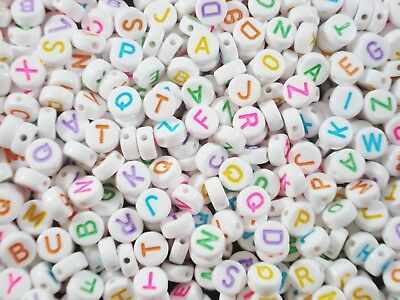 AU5.35 • Buy Alphabet Beads 250pc Round White/Col Letters Kids Jewellery Party FREE POSTAGE
