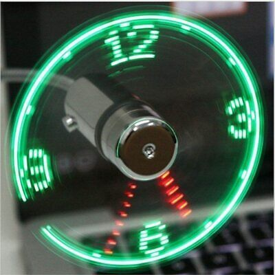 AU16.85 • Buy USB Portable Fan Gadget Flexible LED Clock Cool For Laptop PC Notebook Real Time
