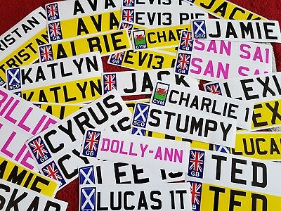 £1.94 • Buy 1 Or 2 Personalised Kids NUMBER PLATE Stickers For Child's Ride On Toy Car Jeep