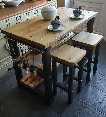 Rustic Kitchen Island Breakfast Bar Work Bench Butchers Block With 2 Stools • 375£