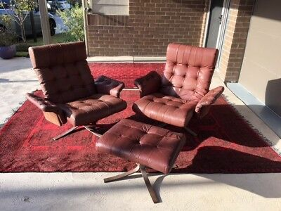 AU990 • Buy Danish 1970s Ebbe Gehl Vintage High Back Buffalo Leather Chairs Midcentry