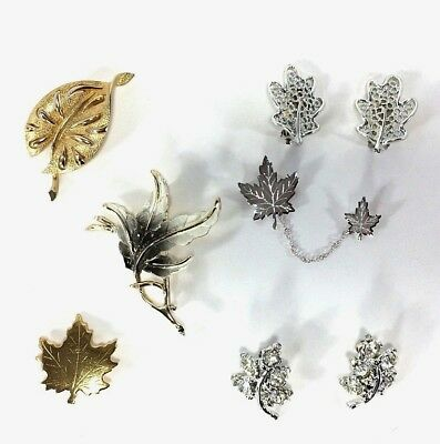 $ CDN27 • Buy Costume Jewelry Collection Brooches Chatelaine Earrings Leaves VTG Leaf Lot Of 6