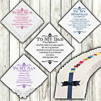 Wedding Handkerchief Personalised Mother Father Of The Bride Custom Gift Mum Dad • 7.99£