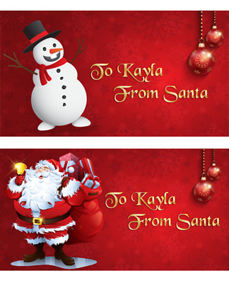 £2.99 • Buy 24 Personalised Christmas Name Stickers Labels Childrens Kids Snowman Santa Rect