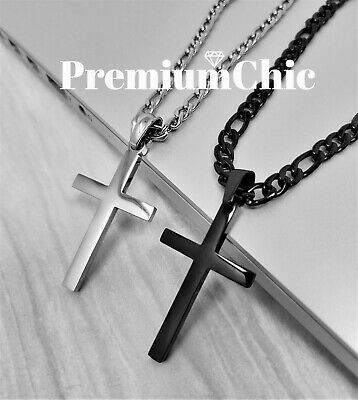 $13.99 • Buy Mens Womens Stainless Steel Figaro Chain Necklace W Cross Pendant Silver Gold BK