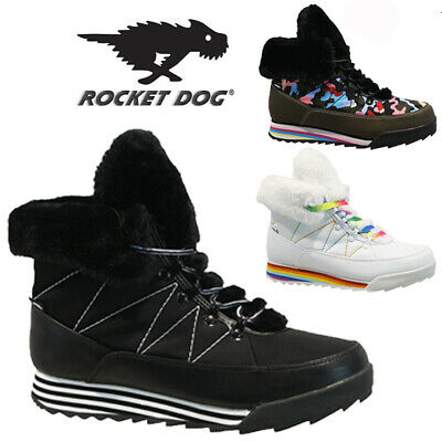 Rocket Dog Ladies Fur Winter Snow Warm Walking Hiking Ankle Boots Trainers Size • 19.95£