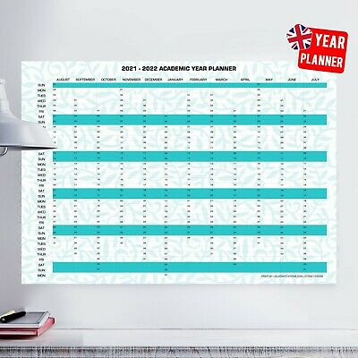 £12.99 • Buy 2021/22 Academic Year Planner Wall Chart-Poster, Calendar, Holidays Home,Office