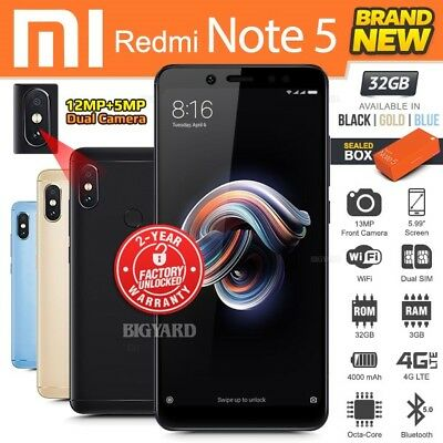 $199.95 • Buy New Factory Unlocked XIAOMI REDMI Note 5 Black Blue Gold 32GB Android Smartphone