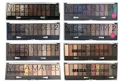 £2.79 • Buy Technic Mega Eyeshadow Palette 12 Colour Shade Eye Shadow Kit Nudes Sultry Matte