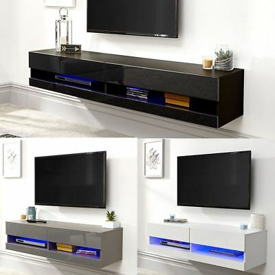 £90.49 • Buy Galicia 120cm 150cm 180cm Wall Tv Unit Stand W/ Led Lcd Entertainment Cabinet