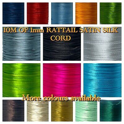 10M Of 1mm Rattail Satin Silk Cord Thread - Kumihimo And Macrame Crafts • 1.89£