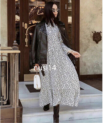 $62.99 • Buy Zara New Printed Dress Black White Polka Dot Flowing Long Maxi Size Xs-xxl