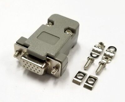 £3.96 • Buy HD15 Pin Female D-Sub VGA Cable Mount Connector W/ Plastic Cover & Hardware DB15