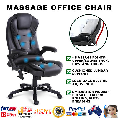 AU191.58 • Buy 8 Point Black PU Leather High Reclining Massage Executive Office Rest Chair
