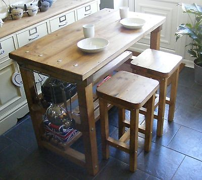 Rustic Kitchen Island Breakfast Bar Work Bench Butchers Block With 2 Stools • 355£