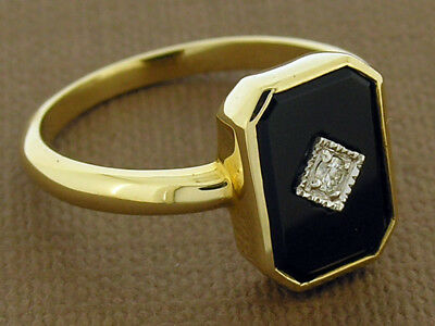 AU419.09 • Buy Genuine 9ct SOLID Gold Natural Onyx & Diamond MOURNING Ring In Your Size