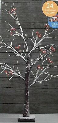 New Christmas Table Top Berry Tree 70cm Height Natural Snowy Finish 24 Led Light • 15.99£