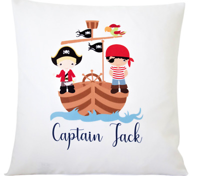 Personalised Pirate - 16  White Cushion Cover Pirate Themed Boys Nursery Gift  • 6.50£
