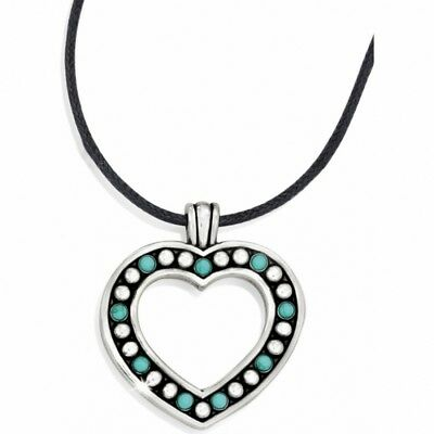 £26.91 • Buy NWT Brighton INDIE  Heart Turquoise Silver Black Cord Necklace MSRP $48