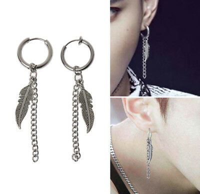 Korean KPOP Album Feather Drop Tassel Chain Dangle Earrings Gift • 2.79£