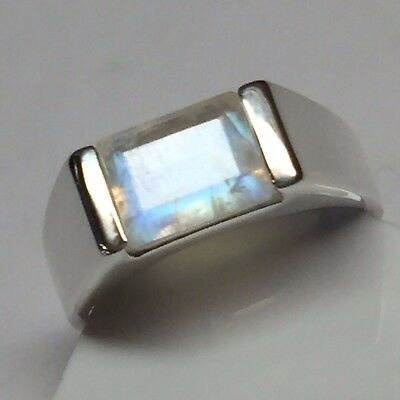 $99.99 • Buy Natural Emerald Cut Rainbow Moonstone 925 Solid Sterling Silver Men's Ring Sz 10