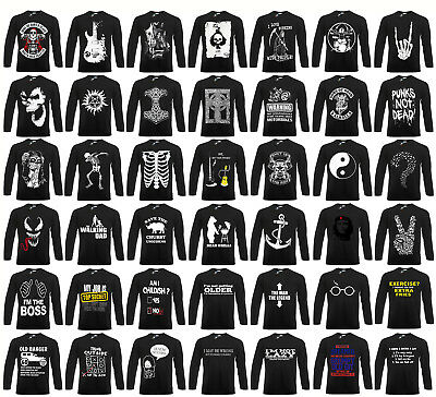 PUNK/METAL/FUNNY/JOKES/CELTIC/TRIBAL/SKULL/Biker/Halloween/Long Sleeve T Shirt • 13.98£