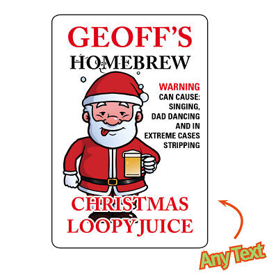 Personalised Bottle Labels Homebrew Christmas Beer Wine Homemade Stickers 1029 • 2.95£