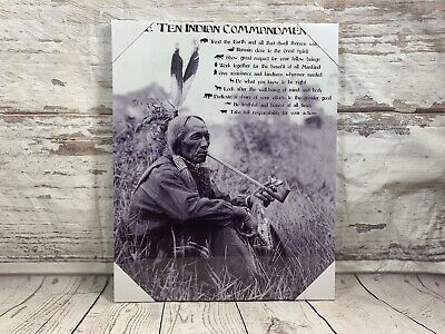 Ten Indian Commandments Native American Canvas Picture American Indians Tribes • 13.99£