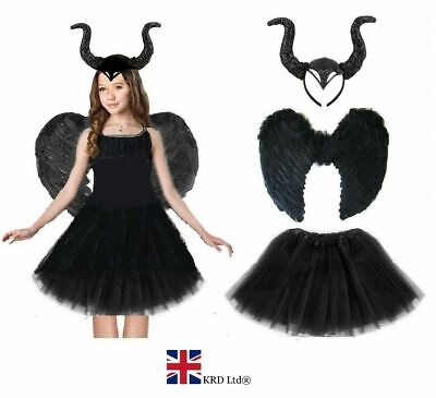DARK DEVIL COSTUME Black Feather Girls Halloween Fancy Dress Outfit Party NEW UK • 12.75£