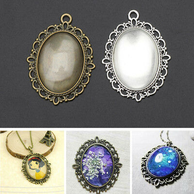 £4.13 • Buy 10Pcs Oval Pendant Bezel Tray And 10Pcs Glass Dome Cabochon Tiles Jewelry Making