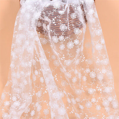 £4.28 • Buy 1yd White Flower Embroidered Lace Fabric DIY Dress Skirt Making Accessories