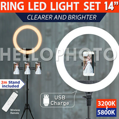 AU97.99 • Buy 14 5500K Dimmable Diva SMD LED Ring Light Diffuser Stand Make Up Studio Lighting