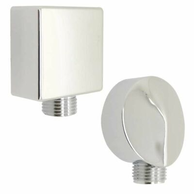Chrome Shower Hose Wall Outlet Elbow Connector ABS - 1/2  BSP, Square Or Round • 2.99£