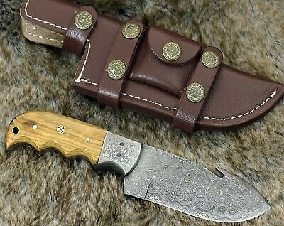 "$34.99 • Buy Damascus Knife Damascus Steel Hunting Knife 8"" Olive Wood Handle Full Tang"