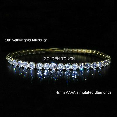 £19.99 • Buy  Yellow Gold Filled AAAA Simulated Diamond Tennis Bracelet,  GIFT BOXED /UK