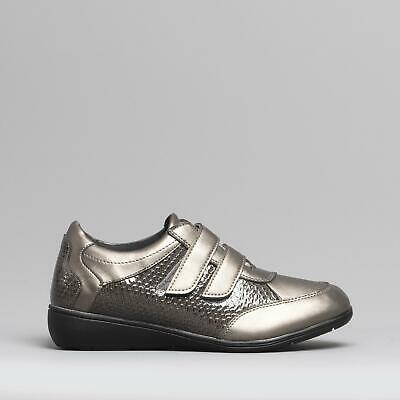 Dr Keller JESS Ladies Womens Touch Fasten Comfy Casual Trainer Shoes Pewter • 18.58£