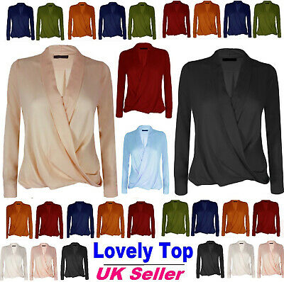 UK Women Long Sleeve Blouse Loose Tops Ladies V Neck Office Shirt Size 6-20*WrkL • 8.49£