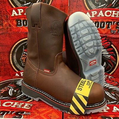 e9bc6a45848 Men's Steel Toe Work Boots Genuine Leather Brown Color Cowboy Pull On Boots