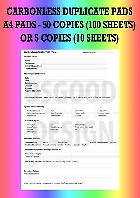 £2.99 • Buy Accident Incident Report Book HSE 50 Pages A4 Sheet Carbonless Duplicate CP14