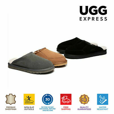 AU60 • Buy UGG Water Resistant Men Slippers Scuffs Bred-Australia Sheepskin Lining