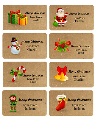 X 24 PERSONALISED CHRISTMAS  NAME STICKERS LABELS GIFT TAG PRESENT WRAPPING SEAL • 2.49£