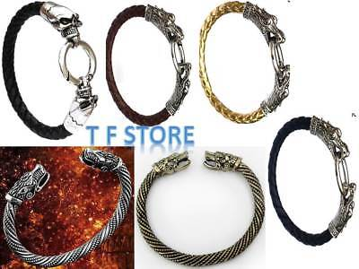 Norse Viking Dragon Wolf Head Bracelet Leather Stel Bangle Men's Women's Jewelry • 4.99£