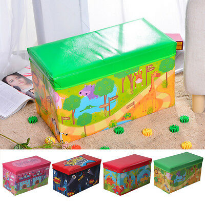 Kids Large Storage Toy Box Padded Seat Childrens Pop Up Folding Chest Girls Boys • 10.29£