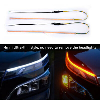 AU22.31 • Buy Car LED Headlight Light Bar Eyebrow DRL Turn Signal Flowing Lamp White+Amber 2pc