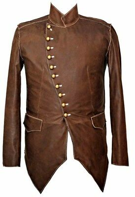 Mans Mens REAL LEATHER COAT JACKET MILITARY TUNIC ROCK GOTH STEAMPUNK BROWN • 107.80£