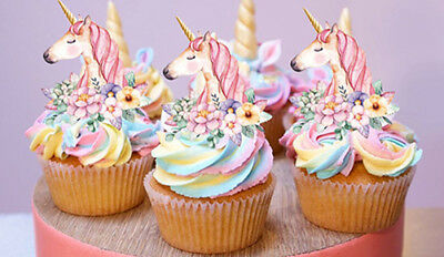 AU10.95 • Buy 24 Stand Up Mini Unicorn Gold Horn Flowers Edible Wafer Cupcake Images Toppers